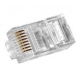 Konektor RJ-45, pro lisování na UTP kabel,  zvýšená vrstva zlata - zvìtšit obrázek